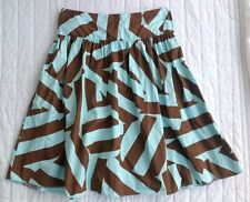 Topshop Skirt Light Blue Brown Jagged Pattern Cotton Size 10 Flared Flippy