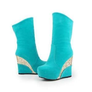 Chic Women's Shining Sequins Wedge High Heel platform Mid Calf Boots Retro Shoes