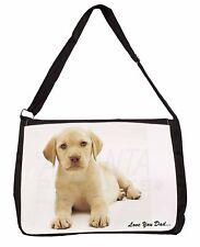 Yellow Labrador 'Love You Dad' Large Black Laptop Shoulder Bag School/, DAD-62SB