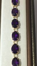 14K YELLOW GOLD BRACELET WITH AMETHYSTS