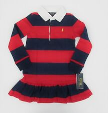 NWT Ralph Lauren Polo Long Sleeved Red Navy Striped Rugby Dress Sz 4/4t NEW $55