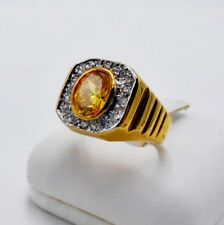 MEN RING YELLOW SAPPHIRE 24K YELLOW GOLD FILLED GP SOLITAIRE HIPHOP DRESS SIZE 8