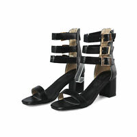 Womens Plus Size Patent Leather Buckle High Top Sandals Peep Toe Buckle Booties