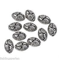 50 älter Silber Acrylperlen Oval Beads Kunststoffperlen Spacer Blumen 1.4x1cm