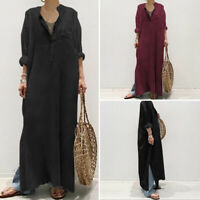 Women Casual Long Sleeve Side Split Long Maxi Dress Oversize Loose Kaftan Robe