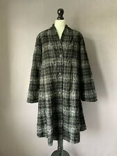 "OSKA Gorgeous Relaxed Fit Graphic Check Print Wool A-Line Jacket Size 1 42"" CH"