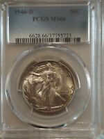1946 D PCGS MS 66 Walking Liberty Half Dollar - Nicely Toned; Great Mint Luster!