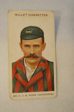 1908 Vintage Wills Cricket Card - C.J.S. Wood - Leicestershire.