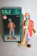 "1986 Emmett Kelly Flambro Figurine ""Cleaning Up"" Clown Figurine 9910C Rare"