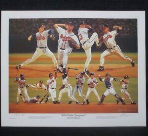 Atlanta Braves Baseball 1995 World Series Champs Alan Zuniga Baseball Lithograph