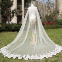 Cathedral Length Wedding Cape Cloak Lace Long Bridal Accessories in White Ivory