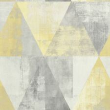 Rasch Triangle Geometric Vintage Yellow Wallpaper Non Woven Textured Vinyl