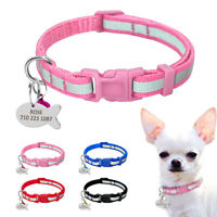 Reflective Personalised Pet Nylon Collar Small Dog Cat Name ID Tag Engraved XS-S