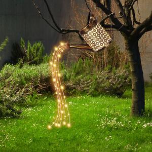 Solar LED Watering Can String Light Outdoor Garden Art Waterfall Lamp Decor Lamp