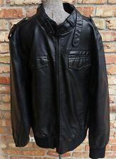 GUESS Men Black Faux Leather Size 2XL XXL Motorcycle Jacket
