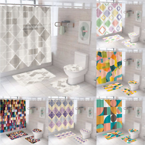 Geometric Extra Long Art Shower Curtain Waterproof Polyester Fabric Mould Proof