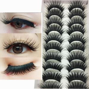 10 Pairs Long False Eyelashes Makeup Natural Thick Black Eye Lashes Extension