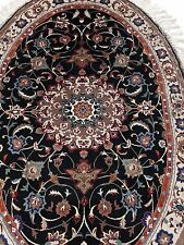 FINE PERSIAN TABRIZ 100% WOOL, BLACK, CREAM,FLORAL RUG - OVAL, HAND KNOTTED