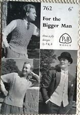 Vintage Patons Pattern 762 for Mens Sweater, Waistcoat & Pullover in 4 Ply 40-44