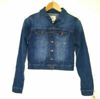 NWT Jessica Simpson Pixie Classic Feminine Crop Fit Blue Denim Jacket Small $70
