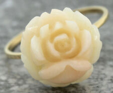 Ladies Antique 14K 585 Yellow Gold Floral White Coral Rose Conversion Ring