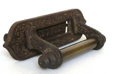 Rare Antique Vintage French Cast Iron Mail Letter Slot with Brass Door Handle
