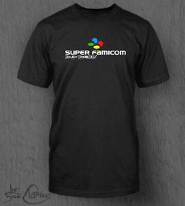 Japanese Super Famicom T-Shirt MEN'S SNES Super Nintendo Logo Top Mario Switch