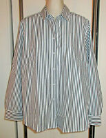 Foxcroft 20 20W Shirt Blouse Charcoal Gray and White Vertical Stripe No Iron
