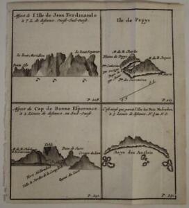 CAPE OF GOOD HOPE SOUTH AFRICA PEPYS JUAN FERNANDEZ 1712 DAMPIER ANTIQUE MAP