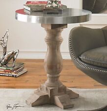 "SOLID FIR WOOD NATURAL STAIN FINISH 27"" ACCENT SIDE END TABLE ALUMINUM CLAD TOP"