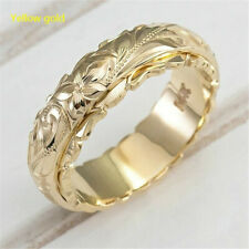 Gold Ring Jewelry Gift Size 8 Fashion Suspended Carved Rose Flower Ring Yellow