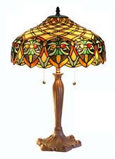 """Tiffany Style Table Lamp Stained Glass Jewels Brown Yellow Shade Metal Base 25"""""""