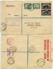 SOUTH WEST AFRICA WW2 CENSORED AIRMAIL REGISTERED to OREGON USA 1941 SWA OPTS
