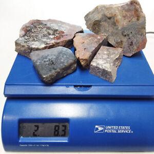 Black Plume Agate, 2.5 lb, 5 pieces, cabbing rough, lapidary, gemstone, #R-1139