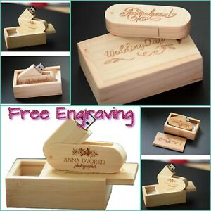 Personalised ,Engraved Wooden 16GB Usb Memory Stick,Gift Box,Wedding Gift
