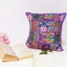 Set of 4 Indian Purple Patchwork Sofa Cushion Cover Pillowcase Vintage Patio Set