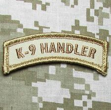 K9 HANDLER TAB DESERT POLICE DOG TACTICAL USA MILITARY HOOK MORALE PATCH