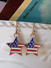 Gold Red White and Blue Star Dangle Earrings. Freedom. Patriotic. Flag. Holiday
