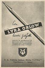 W3574 Matite LYRA ORLOW - Pubblicità 1943 - Advertising