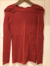 Generra Pink Rouged Shoulder Long Sleeve Fitted Cashmere Sweater Jumper XS S