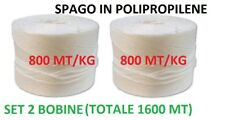 SET 2 BOBINE BOBINA SPAGO IN POLIPROPILENE TOT 1600 MT USO AGRICOLO IMBALLAGGIO.