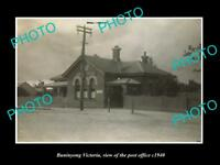 OLD LARGE HISTORIC PHOTO OF BUNINYONG VICTORIA VIEW OF THE POST OFFICE c1940