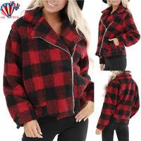 Womens Winter Teddy Bear Fleece Fur Fluffy Zip Plaid Coat Jackets Jumper Outwear