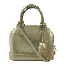 Auth LOUIS VUITTON Alma BB hand bag M91677 Vernis Leather Gris Art Deco Used LV