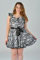 Womens Plus Size Belted Ruffle Dress in Black and Cream Ladies Women's Brand New