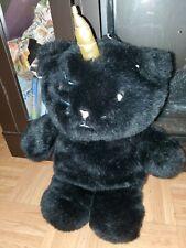 Betsey Johnson UNICORN KITTY CAT Black Plush Fur Backpack Bookbag Purse