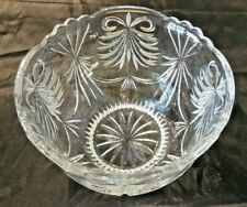 "GORGEOUS CUT & ETCHED LARGE HEAVY CRYSTAL BOWL 8-1/2"" TALL 5.5"" TOP SCALLOPED"