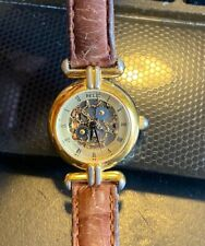 Women's Relic Skeleton Watch, Gold Tone with Brown Leather Band, ZR-71010