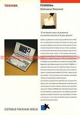 TOSHIBA T2000Xe T2000 Xe T 2000 Portable Documentation PublicitéVintage
