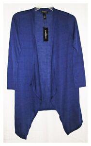 Karen Brooks Knit Cardigan Tunic Length Blue Womens Medium NEW